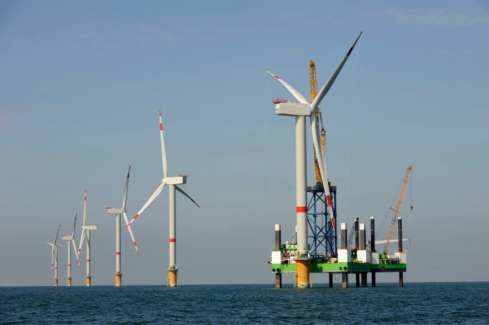 wind turbines in the sea with carbon parts