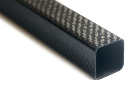 A photo of a section of a square carbon fibre tube